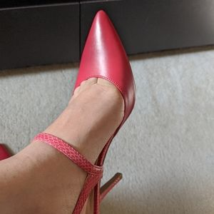 Nine West heels strappy pink shoes SZ 7